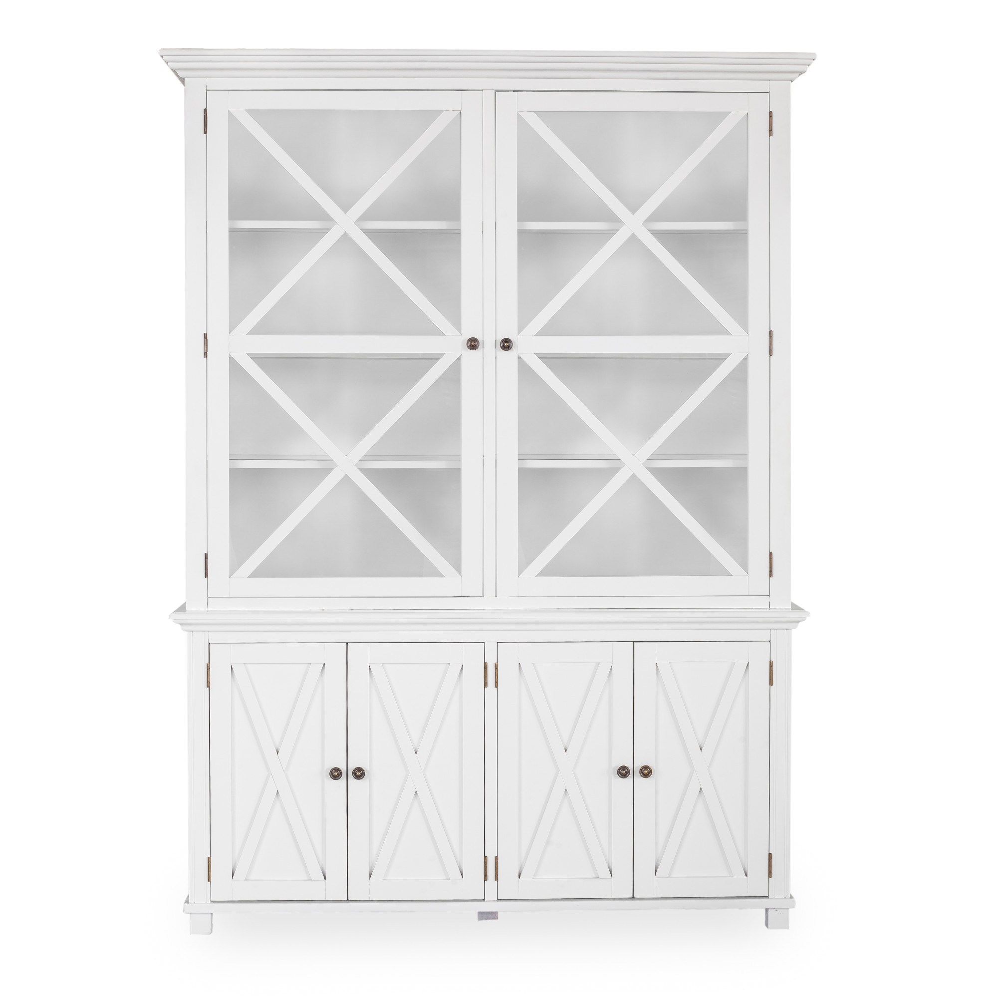 Sorrento Tall White Glass Cabinet